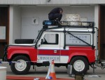 Hong Kong Police Bomb Disposal Land Rovers with helicopter compatible roll cage