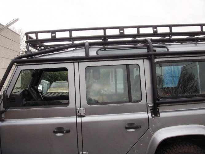 land rover defender 110 station wagon roof rack roll cage mount safety devices experts in. Black Bedroom Furniture Sets. Home Design Ideas